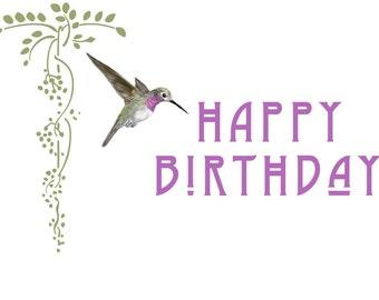 Hummingbird Happy Birthday Card, Handmade Birthday Card, Birthday Card for Her