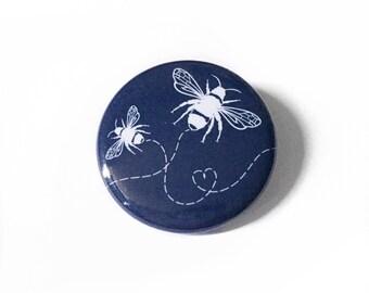 Navy Bumblebee Pinback Button