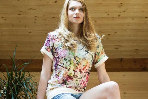 Top linen woman, top, printed multicolored flowers. Women short sleeve top. Tee is made of linen. watercolor, Japan.