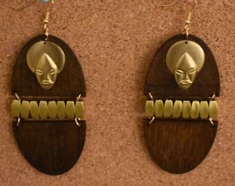 Tribal Mask Wooden Earrings