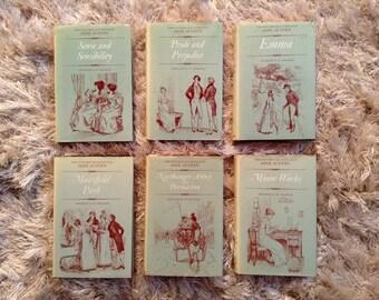 Jane Austen, Vintage Book Set, 6 Volumes, Pride & Prejudice, Sense and Sensibility, Emma, Mansfield Park, Northanger Abbey, Persuasion, Etc.