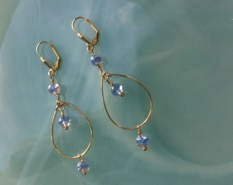 Creole earrings with blue and yellow vintage glass beads