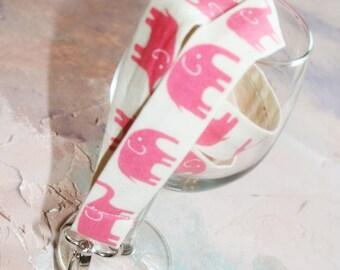Lanyard, Fabric Lanyard, Id Badge Holder, ID Badge Lanyard in Elephant Walk Pink