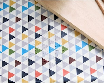Laminated Waterproof Cotton Fabric - Geometric Triangles - Blue - By the Yard 70037