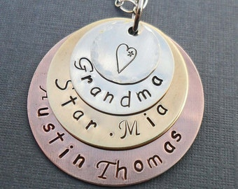 Mixed Metals Grandma Necklace-  Personalized Names Necklace - Grandkids Nonna Mimi - Hand Stamped Jewelry -  Custom Grandma Name - S158