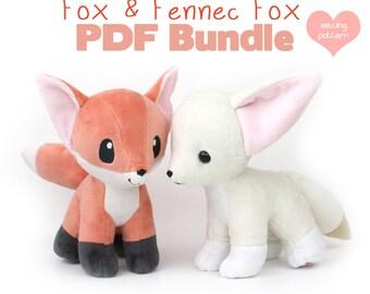 "PDF sewing pattern bundle - Fox and Fennec stuffed animal with video tutorials - wolf canine dog Pokemon plushie kawaii plush 12"""