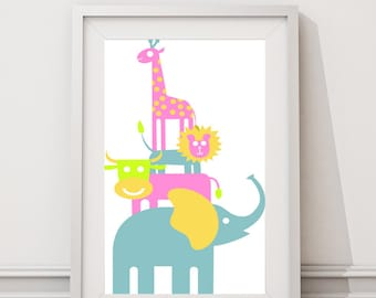 Nursery childrens room animals wall decor-Childrens Art Kids Wall Art Baby Girl/Boy Nursery Giraffe Nursery Elephant Nursery