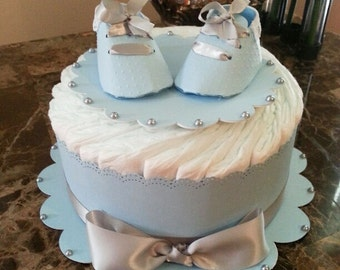 One Tier Blue Diaper Cake For Baby Boy / Baby Shower Centerpiece / Elegant Diaper Cakes /  Baby Shower Gift