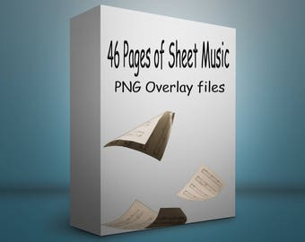 46 Pages of sheet music PNG overlay files