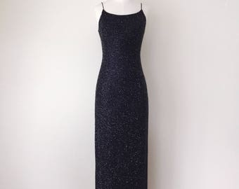 1990s Navy Beaded Gown