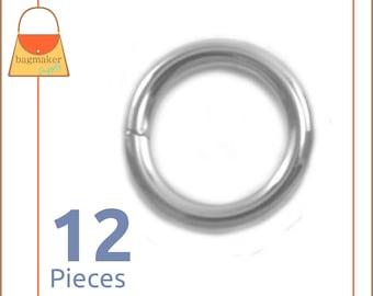 "1/2 Inch Nickel Finish O Rings, 12 Pieces, Purse Handbag Bag Making Hardware Supplies .5 Inch, 1/2"", .5"", RNG-AA186"
