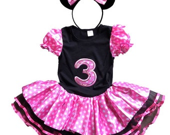 Minnie Mouse Pink Birthday Dress 3 year old + FREE Headband Girl Baby Toddler