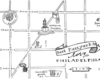 East Passyunk Hand-Drawn Map Philadelphia