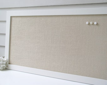 Extra Long Burlap Magnetic Bulletin Board 17.5 x 50 Creamy White Frame Organizer Narrow Magnet Board Burlap Fabric Modern Wood Frame