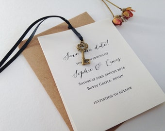 Wedding Save The Date Cards, Rustic Key Save The Date, Save The Day,