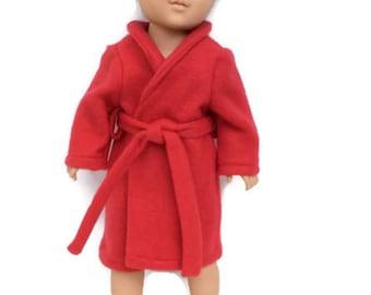 18 Inch Boy Doll Robe, Red Bathrobe, Spa Robe, 18 Inch Boy Doll Clothes, Made to Order