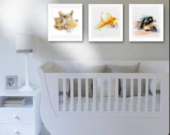 Kids Room Animal Set 3 Kids Room Animal Gift Idea, Kids Room Print Animal Wall Decor Kids Room Gift Idea Baby Print Art Original Gift