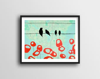 Seattle Print with Birds on Wire and Red Poppy Art // 11x14 Art Print Sweet Gift for Family and Seattle Gift