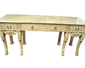 """Antique  Shabby French, Server, Buffet, Sideboard, Console Table, Ivory Color, 81""""W,  Ca1900, PA4529, Shipping Not Free!!!"""