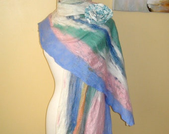 Felted scarf cobweb.  OOAK  wool felted shawl Double loop light blue pink white green cowl loop wraps