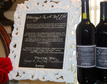 """Chalkboard """"Message In A Bottle"""" Wedding Sign, Printed and Four Anniversary Wine Bottle Labels, Customizable"""