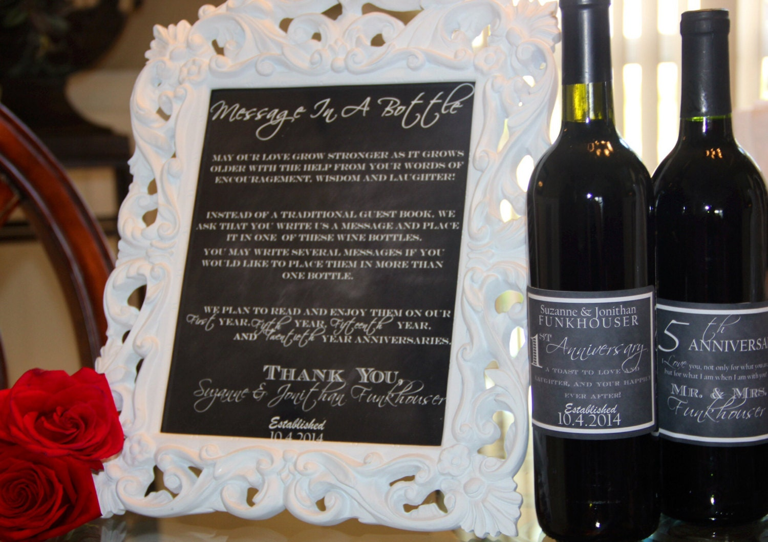 Chalkboard Message In A Bottle Wedding Sign