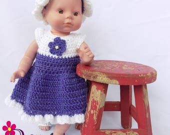 Baby Doll Clothes  Crochet Baby Doll Clothes  Crochet Baby Doll Dress Hat Sandals  Purple and White Baby Doll Dress  Baby Doll Clothing