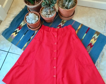 Vintage 70s Red Skirt A-line button down with front pockets