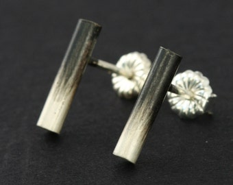 Ombre Sterling Studs, Silver Stick Stud Earrings, Sterling Stud Earrings