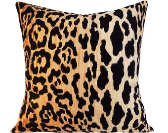 Leopard Cotton Velvet Jamil Pillow Cover - Throw Pillow - Both Sides - 12x16, 12x20, 14x18, 14x24, 16x16, 18x18, 20x20, 22x22, 24x24, 26x26