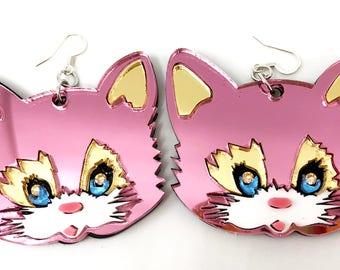 Big Pink Cat Earrings, Large Acrylic Earrings, Pink Kitty Earrings, Cat Face, Cat Dangle Earrings, Oversize Earrings, Kawaii Cat Harajuku