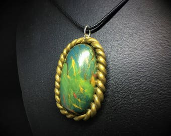 Faux Labradorite Blue Green Oval Necklace, Antique Gold Setting, Polymer Clay.