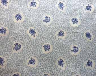 BTY 18th or 19th Century Inspired Reproduction Fabric ~ blue on cream Indian floral block-print ~ by the yard ~ Regency Civil War (FAB-SJB)