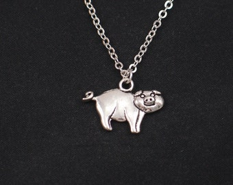 pig necklace, sterling silver filled, silver pig charm, pig charm necklace, fun necklace, animal jewelry, girls jewelry, gift for her, gift
