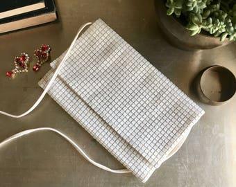 vintage white square mesh purse Lamared