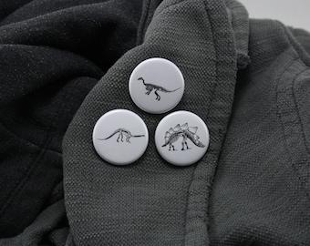 Dinosaur Button Pack 1.25 Inch Buttons Dinosaur Skeleton Button Fossil Button Bones Stegosaurus Brontosaurus Velociraptor Prehistoric