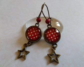 Glass with white dots and stars earrings
