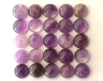 6 mm natural amethyst cabochons  25 pieces lot