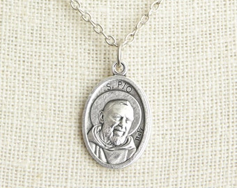 Saint Pio Medal Necklace. St Pio Necklace. Catholic Necklace. Patron Saint Necklace. Catholic Saint Medal Necklace. Catholic Jewelry.