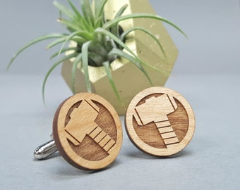 Marvel Thor Cuff Links - Laser Engraved on Alder Wood - Cufflinks Pair