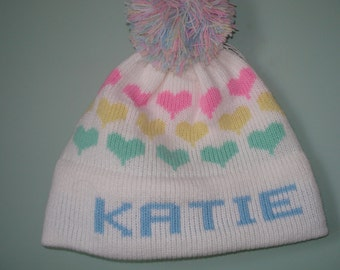 Personalized & Handmade child's knit hat - Katie , or Michelle