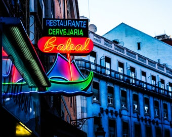Neon Sign Photography - Lisbon Restaurant  - Neon Photography - Lisbon Photography - Neutral Decor - Fine Art Photography  - Baleal - 0110