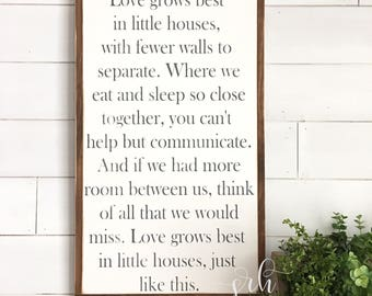 Love grows best in little houses painted wood sign - Wood sign - Distressed Rustic Antiqued sign Decor - Wall Decor - Wall Art