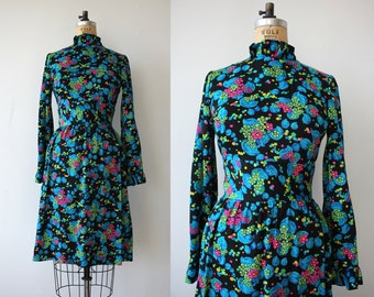 vintage 1960s dress / 60s bright flower dress / 60s neon floral print dress / 60s long sleeve dress / 60s high neck dress / medium
