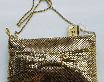 Retro Gold Mesh Handbag by Whiting/Davis - Vintage Purse, Gold Metallic Across Body Purse, Party, Wedding,  Retro Purse, Glitz and Glamor