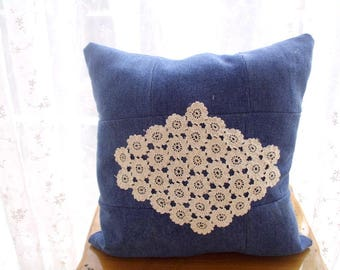 Denim Patchwork Cushion Pillow, Handmade Lace Embroidered Denim Pillow, Denim pillow case, Denim Pillow cover, Recycled denim, gift for home