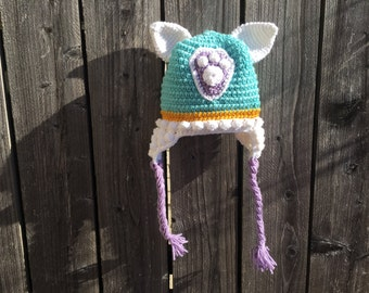 Everest Paw Patrol Inspired Pup Crochet Beanie Hat with Ears, Badge, Ear Flaps, and Braids! Great Gift For the Paw Patrol Lover!