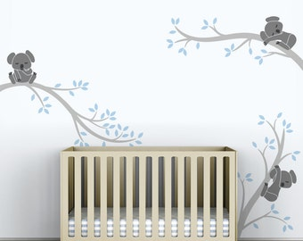 Baby Boys Wall Decal Tree Wall Sticker Decal Kids Room Decor - Koala Tree Branches by LittleLion Studio  sc 1 st  Etsy & Childrenu0027s Wall Decal Gray and Yellow Kids Room Wall Decor