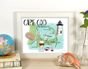Illustrated Map Travel Art Print: Cape Cod, Massachusetts