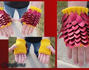 Red Small Knitted Scalemail Gauntlets on Yellow Acrylic Yarn - JayeCreations